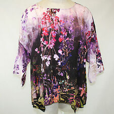 7e047f493ec NEW NWT Citron Clothing Butterfly   Flowers Lavender 100% Silk Tunic Blouse  2X