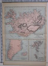 1891 antique map ~ Islande Groenland îles Féroé FEROE Klofa Jokull
