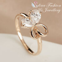 18K Rose Gold Plated Simulated Diamond Lovely Double Teardrop Butterfly Ring