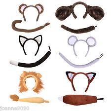 Niños Niñas Granja Zoológico Disfraz animal diadema orejas y rabo Set