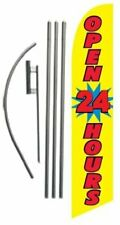 Yellow Open 24 Hours Advertising Feather Banner Swooper Flag Sign With Flag