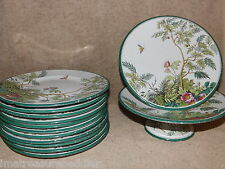 Royal Doulton Dessert Set 2 Footed Cake w/ 11 Plates Trees Flowers Insect