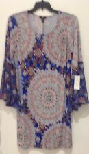 MSK women's plus size 1x bell sleeve dress. Peacock. Red/white/blue NWT