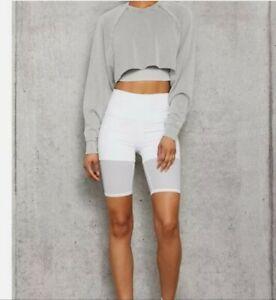EUC Alo High Waist Lavish Mesh Layered Biker Shorts - White - M