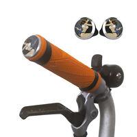 Silicone M/H/S Grips + Aluminium Handlebar Plugs for BROMPTON ORANGE