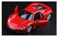 Red 1:36 Scale PORSCHE 918 Spyder Diecast model Car Door Open PullBack 1/36