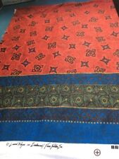 """Laurel Wayne for Candlewood Flame Textiles Red Border Knit Fabric 42"""" x 62"""""""