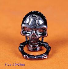 6X Retro Black Skull Bone Ring Wallet Purse Connector Leathercraft Decor Concho
