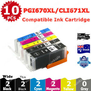 10X Generic Ink PGI670 CLI671 XL For Canon TS5060 TS6060 TS8060 TS9060 MG7760