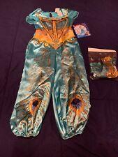 Disney Princess Girls'  Jasmine Teal Deluxe Halloween Costume, XS 3T/4T, NWT