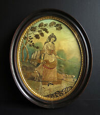 More details for 18th century silk embroidery,  'peasant girl' with dog & sheep in original frame