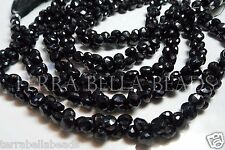"4"" half strand black SPINEL gem stone faceted onion briolette beads 6mm - 7mm"