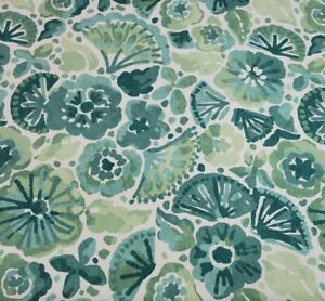 "Water Flowers in Jasper BTY Robert Allen 100% Cotton Duck 54"" W Green Floral"