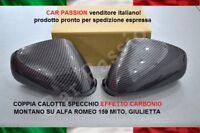 CALOTTE SPECCHIO ALFA ROMEO MITO GIULIETTA 159 CARBON LOOK STEMMA LOGO COPPIA