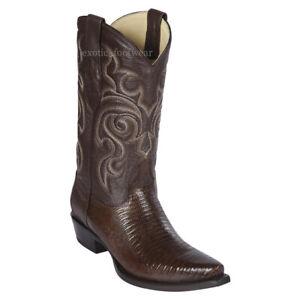 Men's Los Altos Genuine Teju Lizard Cowboy Western Boots Snip Toe