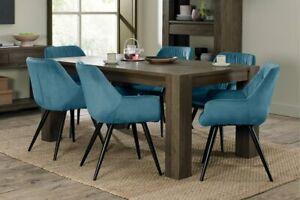 Constable / Sierra Fumed Oak 6 Seater Dining Set- Dali Blue Velvet Chairs