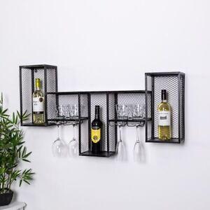 Industrial Metal Wine Rack Cabinet Wall Mounted Retro Black Metal Unit Storage
