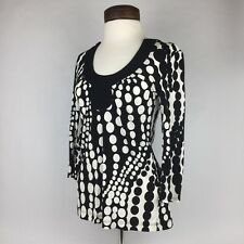 TRINA TURK Black White Dot Blouse Long Sleeve Shirt, P
