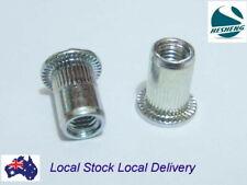 Qty 100 M6 Flange Nutserts Clear Zinc Plated Steel Rivet Nut Rivnut Nutsert