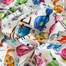 Cat fabric, cute designer cotton fabric, quilting, crafts, kids, half metres