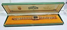 NOS GARON Antique Reno RETRO Wrist Watch 17 Jewels Black Dial Metal Band #106