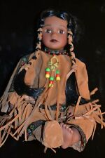 TIMELESS COLLECTIONS + NATIVE INDIAN GIRL + DOLL + SEATED + BRAND NEW IN THE BOX