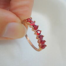 0.86ct Natural Malawi Ruby Rose Gold Half Eternity Gold Band Ring