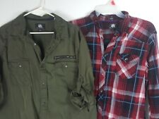Rock & Republic *Lot of 2* men's Roll Tab Long Sleeve Shirt 2XL 1 green, 1 red p