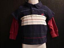 Wrangler Polo Shirt Long Sleeve 12 Months Red White Blue Horse Logo Infant Boy