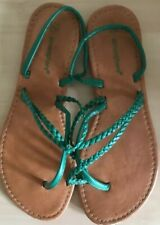 ATMOSPHERE HOLIDAY BEACH LADIES OPEN TOE STRAPPY SANDALS FLAT-SIZE 5 EU38 GREEN