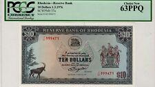 Rhodesia 10 Dollars 1.3.1976 PM# 37a Serial # 999471 PCGS 63PPQ Banknote