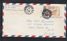 Laos 1959 Air Mail cover Vientiane to New York,  SC#C28 monks meditating in boat