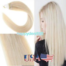 Loop Micro Ring Beads Link Remy Human Hair Extensions Platinum Blonde 18Inch100S