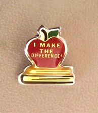 Enamel Red Apple Books Teacher I Make the Difference Lapel Pin Tie Tack Brooch