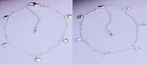 925 Sterling Silver Plated Star Charm Anklet KPAN3 or Heart Charm Anklet KPAN4.