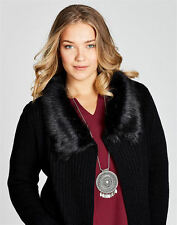 Autograph black open drape fur collar chunky KNIT cardigan jumper XL 22 24 26