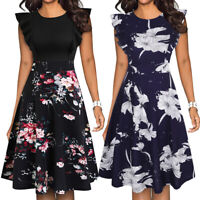 Retro Women's Ruffle Floral Flared A-Line Swing Casual Work Cocktail Party Dress