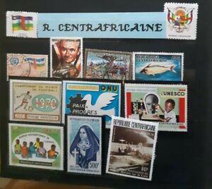 10 Central African stamps / Lot de 10 timbres de République Centrafricaine
