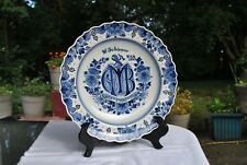 Zenith Delft Blue White Anniversary Charger Plate 12 1/2 Inches Factory Sig 1969
