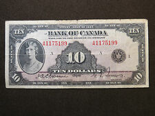 1935 $10 DOLLAR BILL BANK OF CANADA NOTE A1175199 PRINCESS MARY ENGLISH F