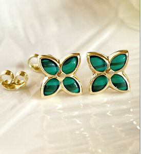 14K Yellow Gold Oval 10x8 mm Natural Malachite Studs Earrings NEW