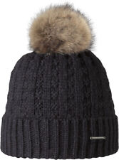 2018 Women's Lady Barts Filippa Black Adult Beanie Faux Fur Pom Hat