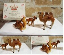 Vintage Handcrafted Crown Fine Bone China Miniatures Camel Family Box Japan Euc