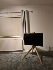 TV Floor Stand Wooden Minimal Modern Natural Birch Wax Furniture Easel Plywood