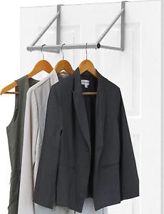 Over The Door Clothes Hanging Bar Rack Valet Hanger Space Saver Hook Organizer