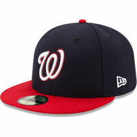 New Era 59Fifty Hat MLB Mens Washington Nationals Navy Red Fitted 5950