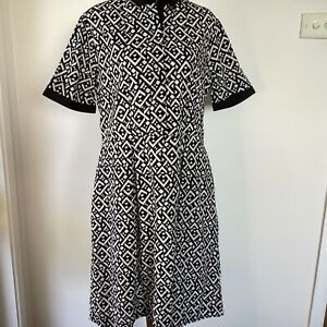 Gabriella Frattini dress size 12 black white geometric print 100% cotton pockets