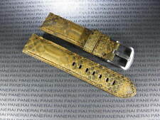 22mm Genuine PYTHON Leather Strap Gold Brown Band Tang Buckle PAM