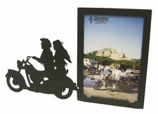 Motorcycle Couple 3x5V Black Metal Picture Frame