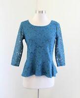 Ann Taylor Loft Teal Blue Floral Mesh Lace 3/4 Sleeve Peplum Blouse Top Sz PS SP